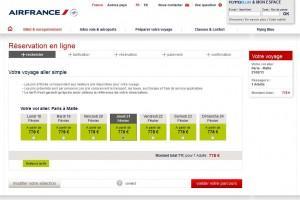 Tarrif Air France, cliquez pour agrandir.