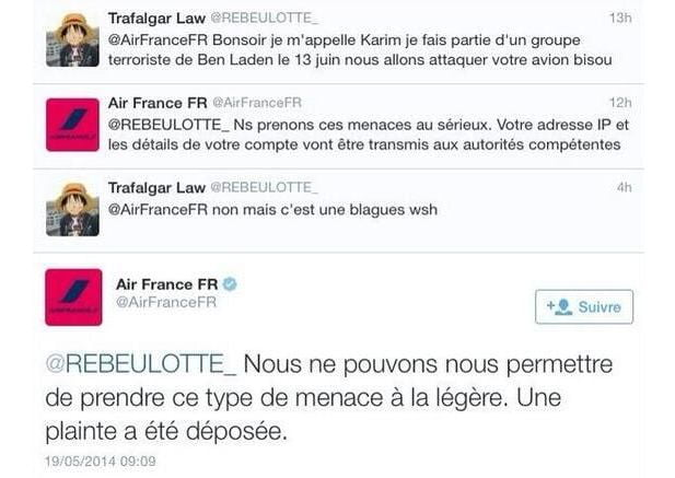 Air France et « blague débile »…