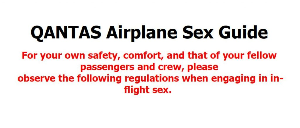 Sex in the Air with Qantas