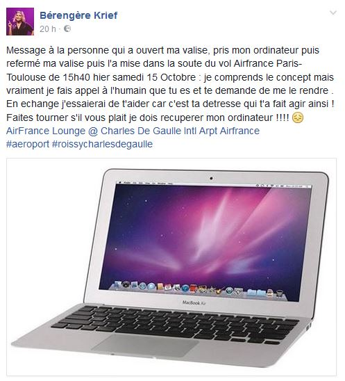 Air France et l'ordi disparu