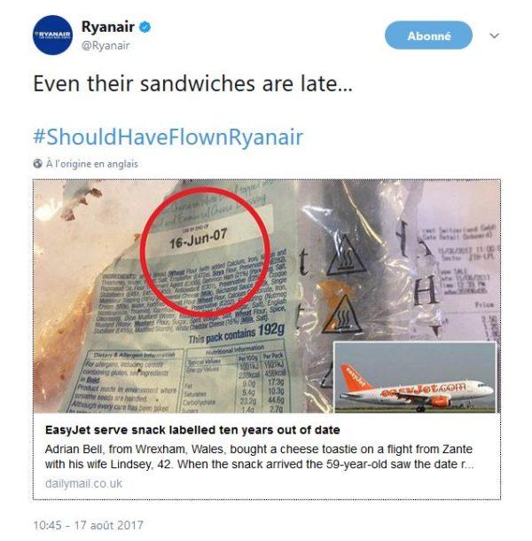easyJet, sandwich en retard !